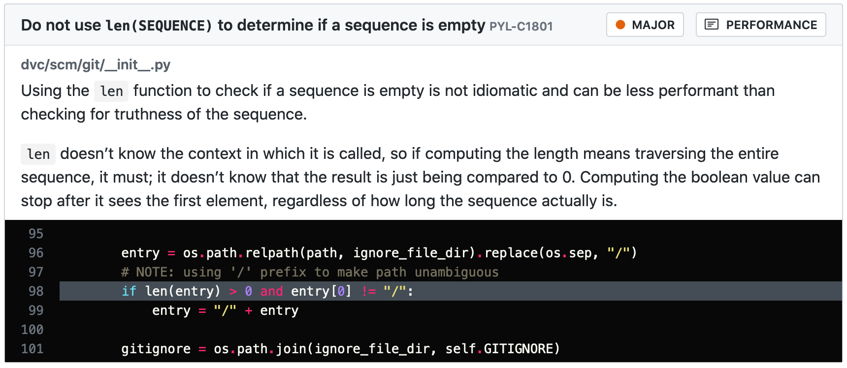 Don't use len(SEQUENCE) to determine if a sequence is empty