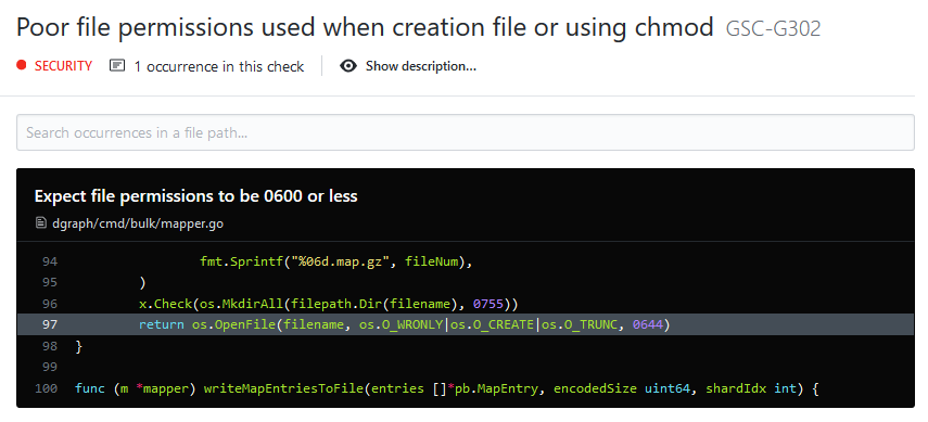 Poor file permissions used when creation file or using chmod