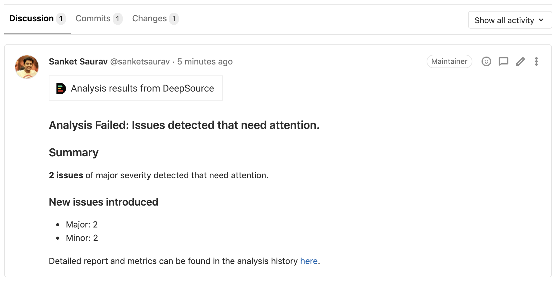 DeepSource comment on GitLab merge requests